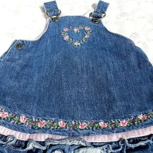 Baby Denim Overall Dress w/Embroidery & Hearts